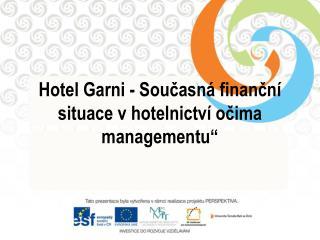 """Hotel  Garni  - Současná finanční situace v hotelnictví očima managementu"""""""