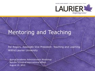 Mentoring and Teaching