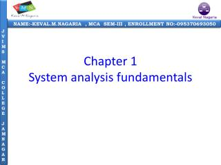 Chapter 1 System  analysis fundamentals