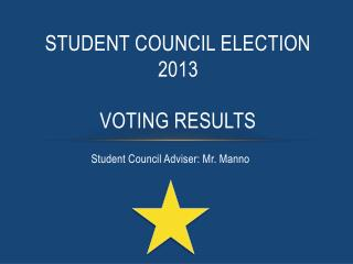 Student council election  2013 VOTING RESULTS