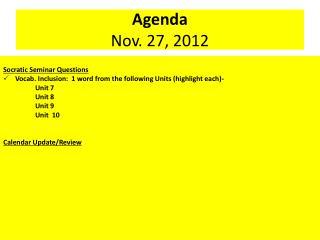 Agenda Nov.  27,  2012