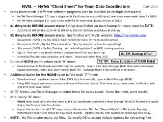 """NVSL  –   HyTek  """" C heat Sheet"""" for Team Data Coordinators"""
