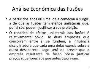 Análise Económica das Fusões
