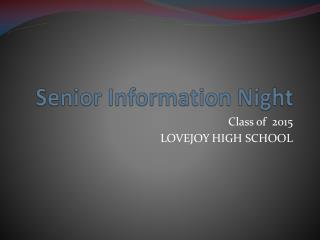 Senior Information Night