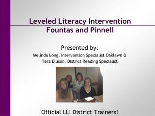 Leveled Literacy Intervention Fountas and  Pinnell