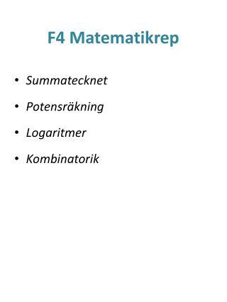 F4 Matematikrep