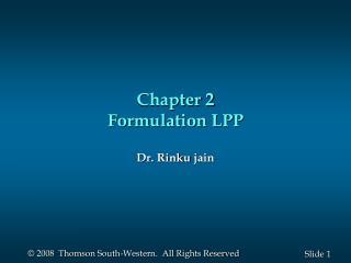 Chapter 2 Formulation LPP