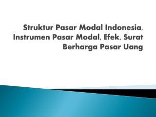 Struktur Pasar Modal Indonesia, Instrumen Pasar Modal, Efek, Surat Berharga Pasar Uang