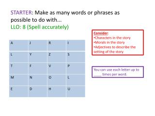 STARTER : Make as many words or phrases as possible  to do with... LLO: 8 (Spell accurately)