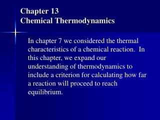 Chapter 13 Chemical Thermodynamics