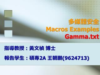多媒體安全  Macros Examples  Gamma.txt