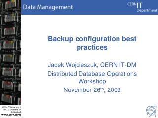 Backup configuration best practices