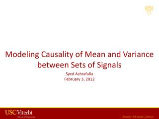 Modeling Causality of Mean and Variance between Sets of Signals