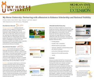 My Horse University: Partnering with  eXtension  to Enhance Scholarship and National Visibility