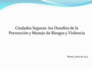Ciudades  Seguras: los Desafíos de la  Prevención y Manejo de Riesgos y  Violencia