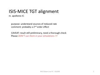 ISIS-MICE TGT alignment m.  apollonio  IC