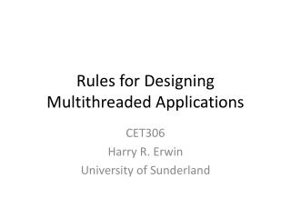 Rules for Designing Multithreaded Applications