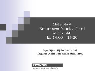 Málstofa 4 Konur sem frumkvöðlar í atvinnulífi kl. 14.00 – 15.20