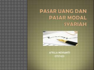 Pasar uang dan pasar  modal  syariah