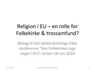 Religion i EU – en rolle for Folkekirke & trossamfund?