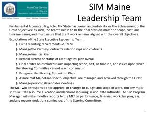 SIM Maine Leadership Team