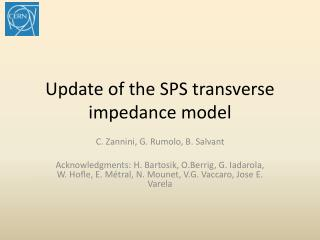 Update of the SPS transverse impedance model