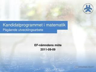 Kandidatprogrammet i matematik Pågående utvecklingsarbete