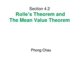 Section 4.2  Rolle�s Theorem and The Mean Value Theorem