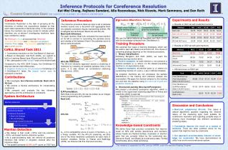 Inference  Protocols for Coreference Resolution