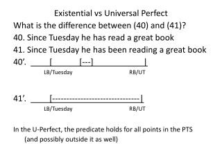 Existential  vs  Universal Perfect What is the difference between (40) and (41)?