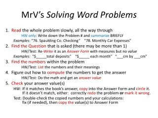 MrV's  Solving Word Problems