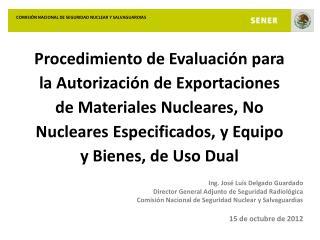 Ing. José Luís Delgado Guardado Director General Adjunto de Seguridad Radiológica