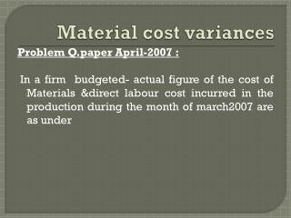 Material cost variances