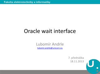 Oracle wait interface