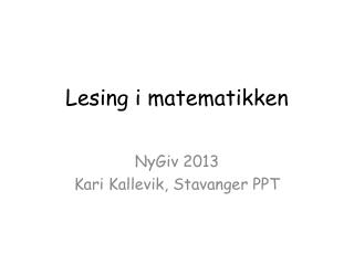 Lesing i  matematikken
