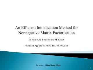 An Efficient Initialization Method for Nonnegative Matrix Factorization