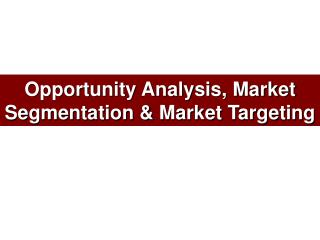 Opportunity Analysis, Market Segmentation  Market Targeting