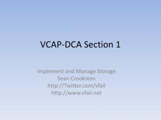 VCAP-DCA Section 1