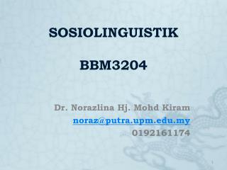 SOSIOLINGUISTIK BBM3204