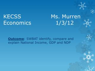 KECSS 						Ms.  Murren Economics						1/3/12