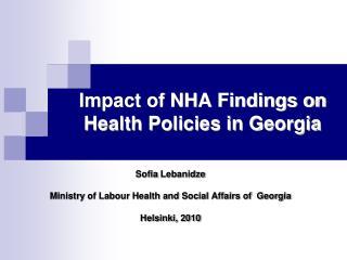 Impact of NHA Findings on Health Policies in Georgia