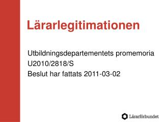 Lärarlegitimationen