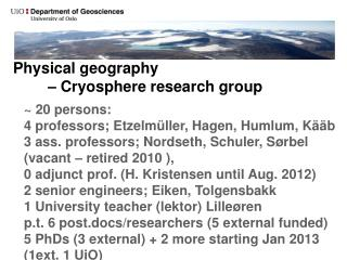 Physical geography – Cryosphere  research group