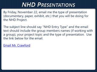 NHD  Presentations