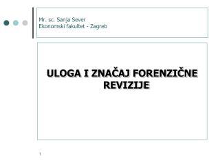 Mr .  sc . Sanja Sever Ekonomski fakultet - Zagreb