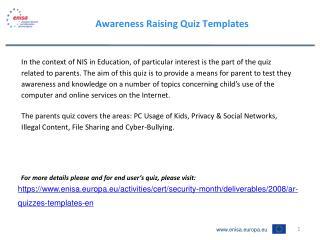 Awareness Raising Quiz Templates