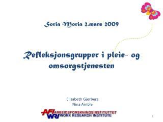 Soria Moria 2.mars 2009 Refleksjonsgrupper i pleie- og omsorgstjenesten
