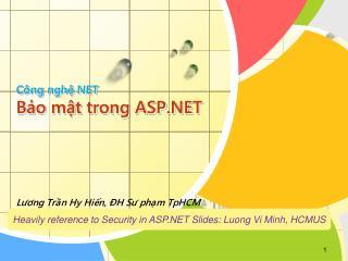Công nghệ NET Bảo mật trong ASP.NET