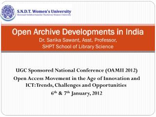 UGC  Sponsored National Conference (OAMII 2012 )