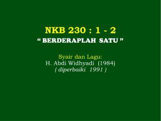 N KB 230  : 1 -  2